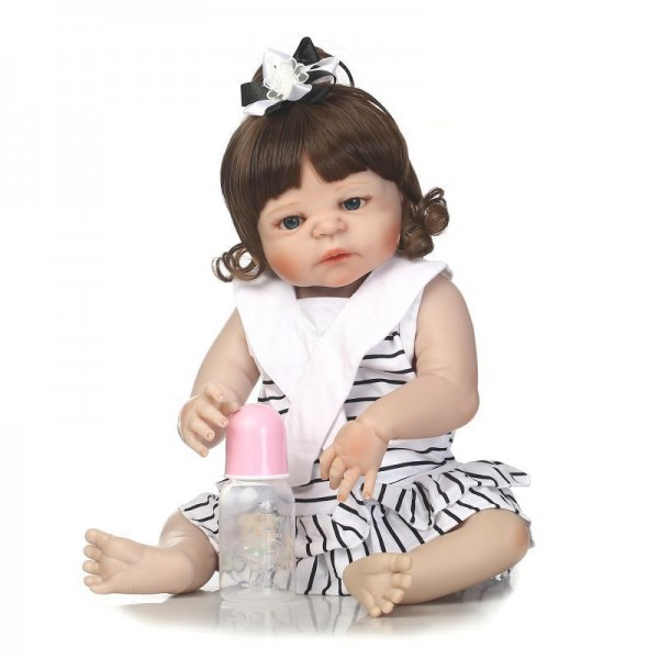 Pretty Baby Girl Doll Lifelike Realistic Silicone Reborn Girl Doll 22.5inch