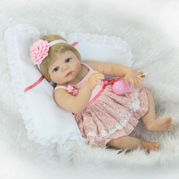 Blue Eyes Reborn Girl Doll Lifelike Realistic Silicone Vinyl Baby Doll 22.5inch