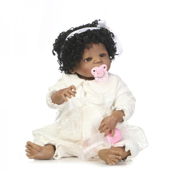 Full Body Silicone Reborn Black Girl Doll with Fashion Hair Style 22 Inches