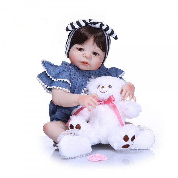 Realistic Reborn Toddler Doll Girl Full Silicone Body Reborn Baby 22inches