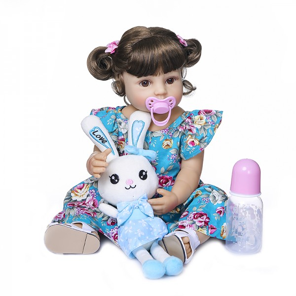 Poseable Full Body Silicone Doll Cute Reborn Toddler Girl 22inche
