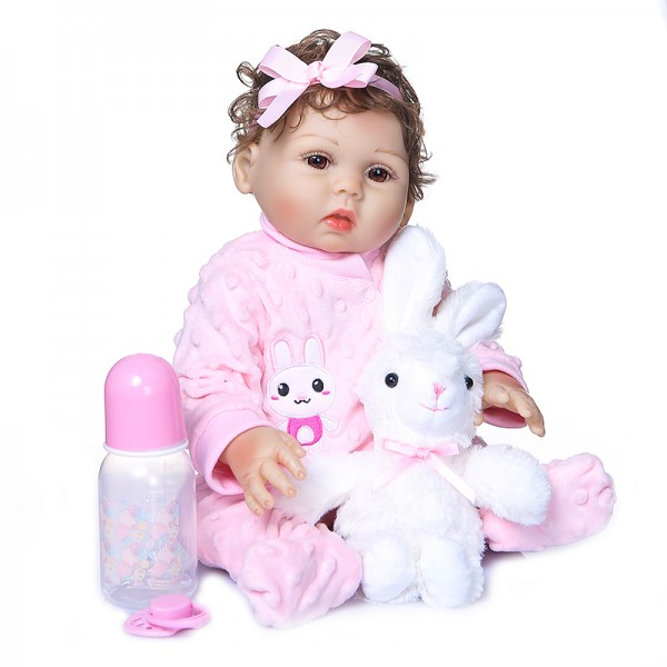 Original Reborn Toddler Girl Curly Hand Rooted Hair Full Body Silicone Doll 19inche