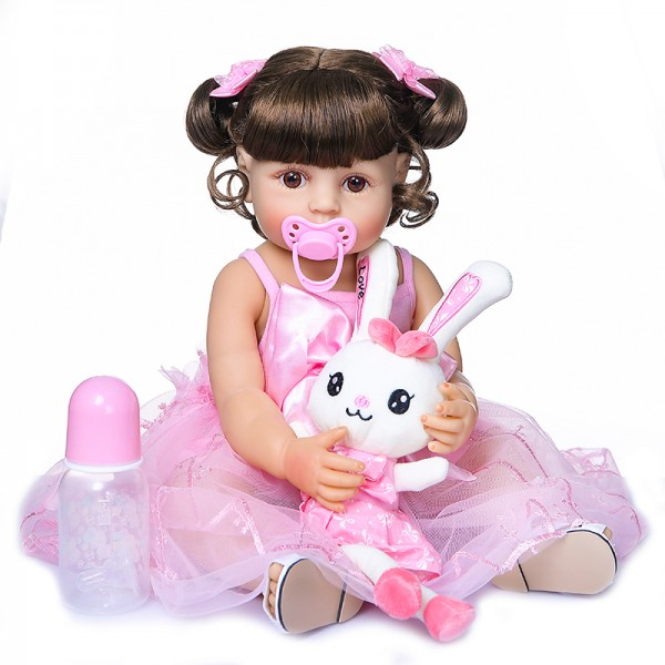 Reborn Baby Toddler Doll In Pink Skirt Original Full Body Silicone Doll 22Inche