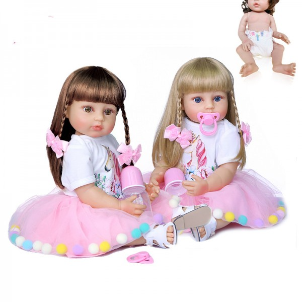 High Quality Full Body Silicone Reborn Baby Doll Princess Toddler Girl 22Inche