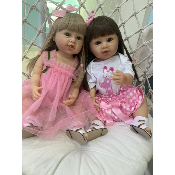 Original Reborn Girl With Teeth Sweet Babies Full Body Silicone Baby Doll 22Inche