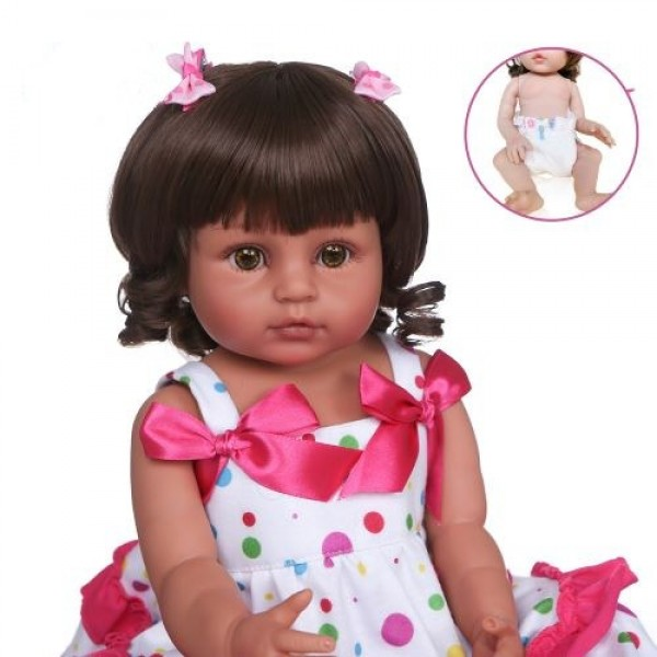 Two Skin Colors Lifelike Lovely Girl Doll Full Body Silicone Baby 22 Inche