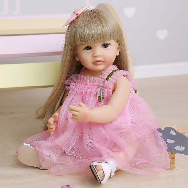 Original Lifelike Reborn Pink Girl Doll Full Body Silicone Sweet Face Baby Doll 22Inche
