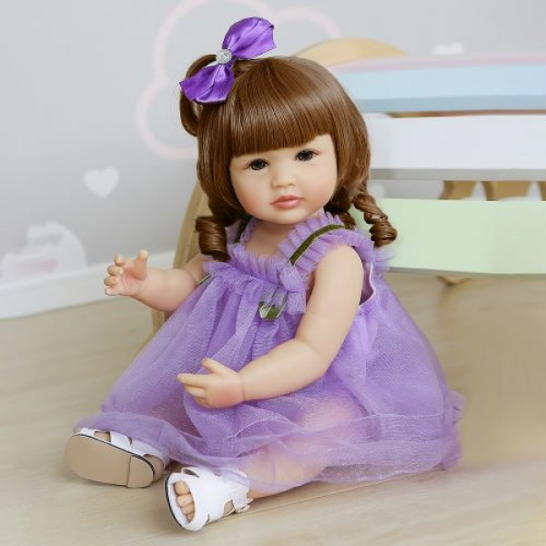 Two Hair Colors Reborn Girl Princess Baby Waterproof Full Body Silicone Doll 22Inche