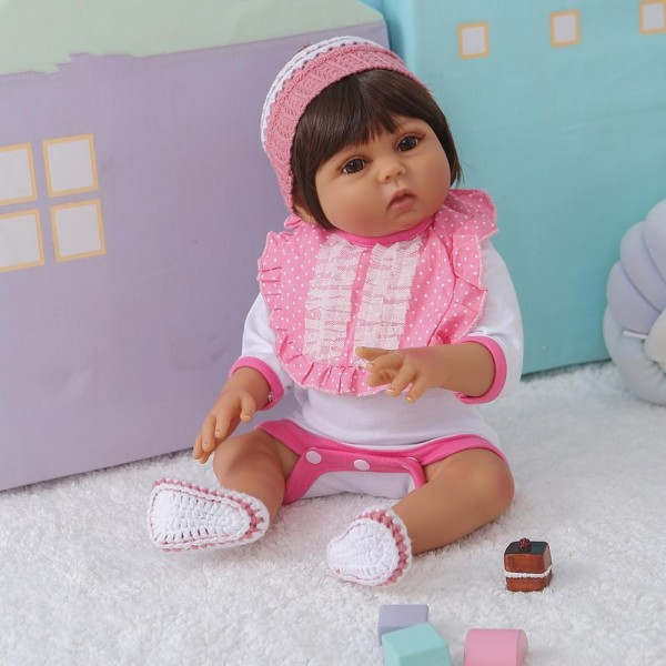Waterproof Brown Skin Color Silicone Realistic Baby Girl Doll 19Inche