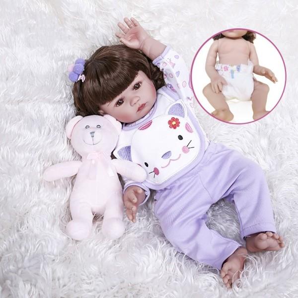 Lovely Real Life Baby Dolls Girl Handmade Full Body Slicone Babies 19inche