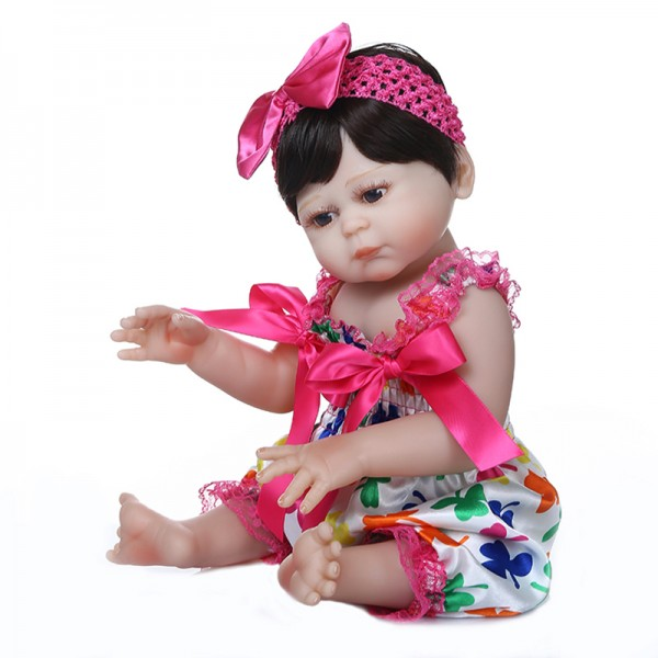 High Quality Realistic Baby Dolls With Hair Soft Silicone Full Body Touch Reborn Baby Doll Girl 19inche