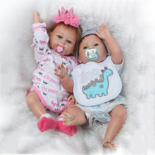 Cute Reborn Twins Dolls Poseable Lifelike Silicone Newborn Boy Girl Baby Doll 19inch