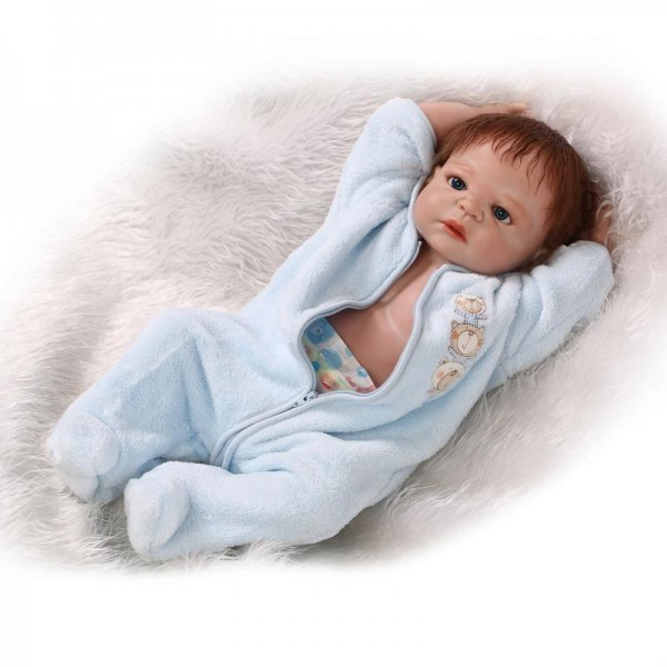 Reborn Twins Dolls Poseable Lifelike Silicone Newborn Boy Girl Baby Doll 22.5inch