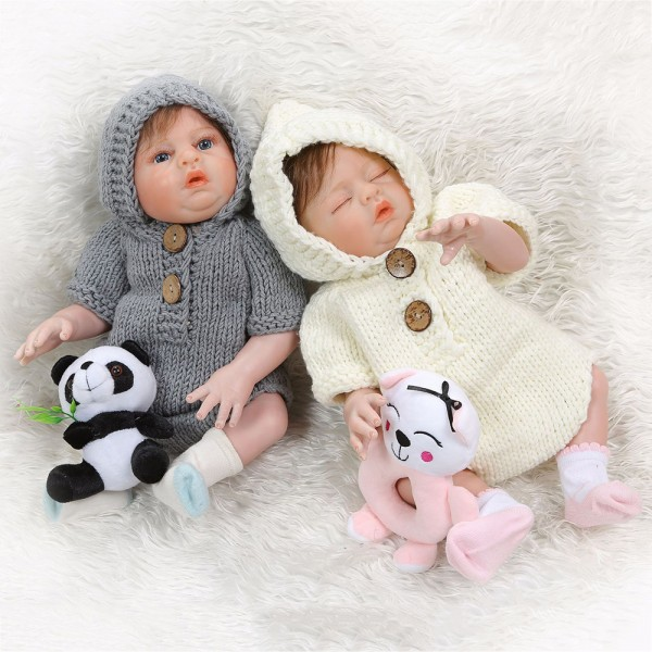 Lifelike Reborn Twins Dolls Poseable Silicone Sleeping Boy Girl Baby Doll 20inch