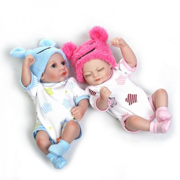 Reborn Twins Baby Dolls Preemie Lifelike Silicone Painted Hair Sleeping Boy Girl Doll 10inch