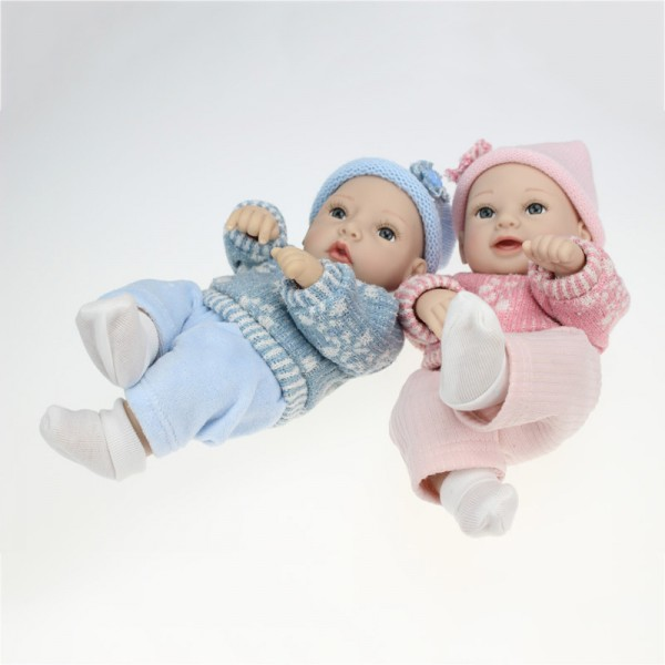 Reborn Twins Baby Dolls Poseable Lifelike Silicone Preemie Boy Girl Doll 11inch