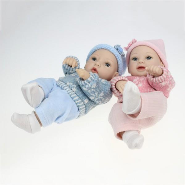 Reborn Twins Baby Dolls Poseable Lifelike Silicone Preemie Boy Girl Doll 11inch