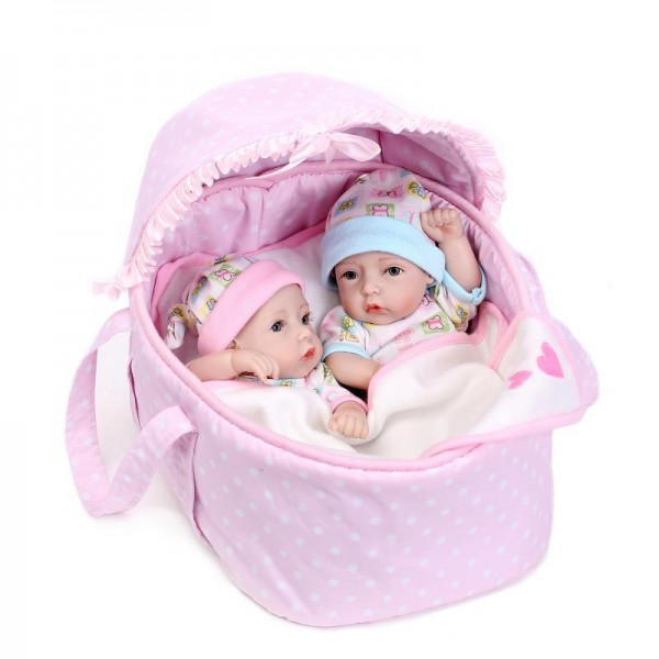 Reborn Twins Baby Dolls Preemie Poseable Lifelike Silicone Boy Girl Doll 11inch