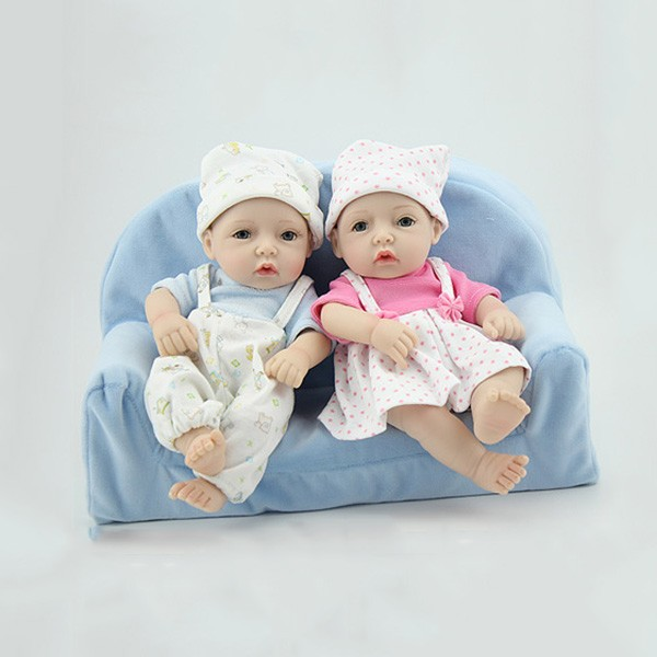 Reborn Twins Preemie Poseable Lifelike Silicone Boy Girl Baby Doll 11inch