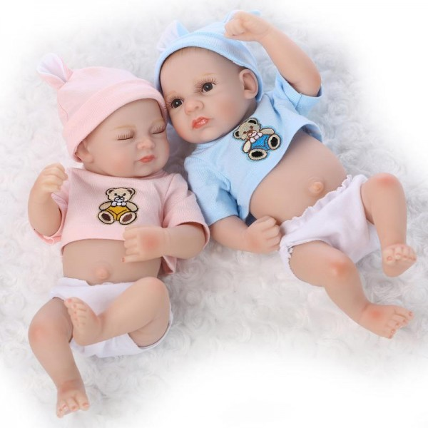 Silicone Reborn Twins Baby Dolls Preemie Lifelike Sleeping Boy Girl Doll 10inch