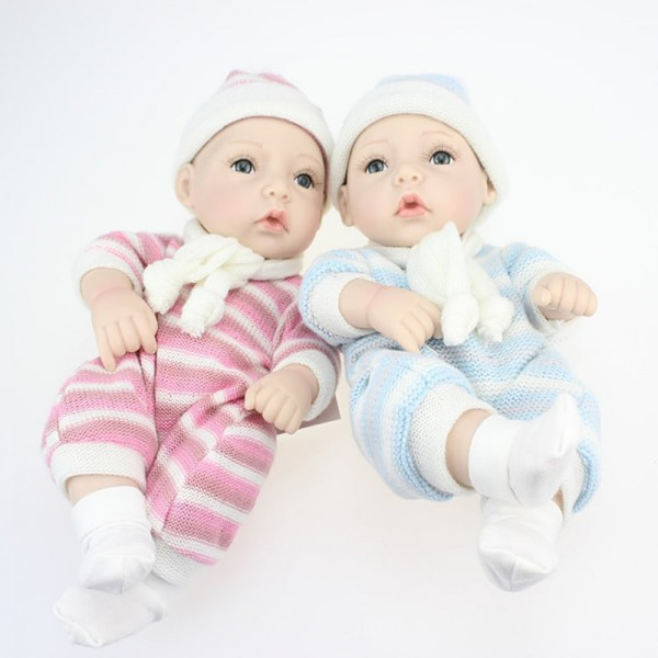 Reborn Twins Baby Dolls Preemie Lifelike Silicone Boy Girl Doll 11inch