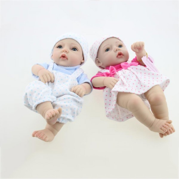 Reborn Twins Preemie Dolls Poseable Lifelike Silicone Painted Hair Boy Girl Baby Doll 11inch
