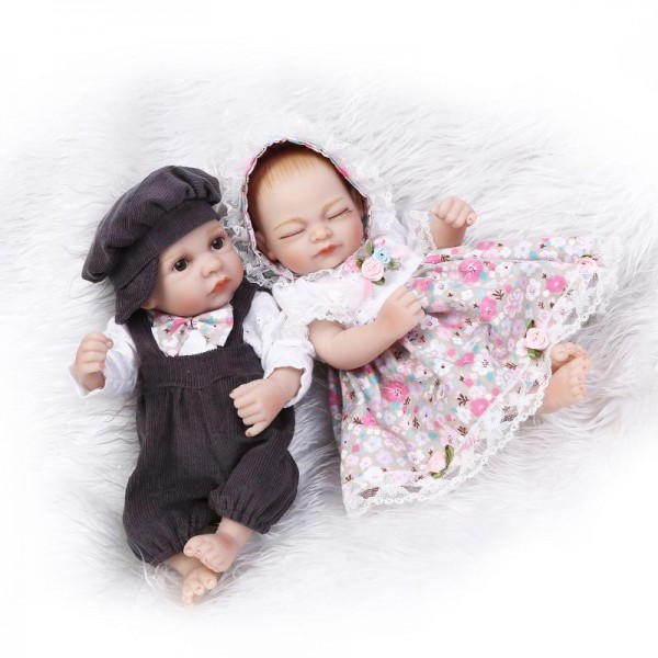 Reborn Twins Baby Dolls Preemie Lifelike Silicone Sleeping Boy Girl Doll 11inch