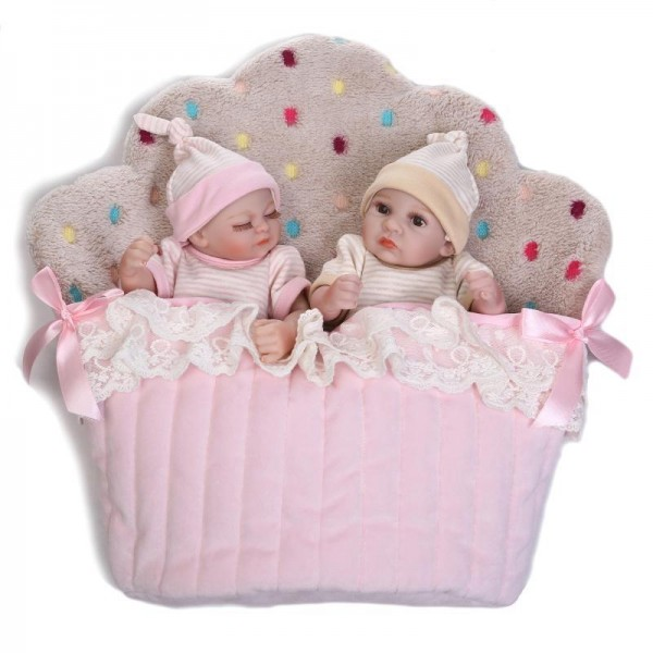 Reborn Twins Dolls Preemie Poseable Lifelike Silicone Sleeping Boy Girl Baby Doll 10inch
