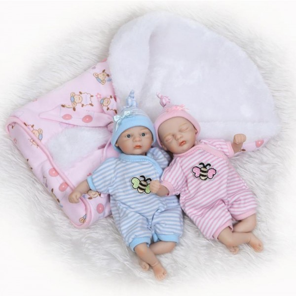 Mini Reborn Twins Dolls Lifelike Silicone Painted Hair Boy Girl Baby Doll 6inch