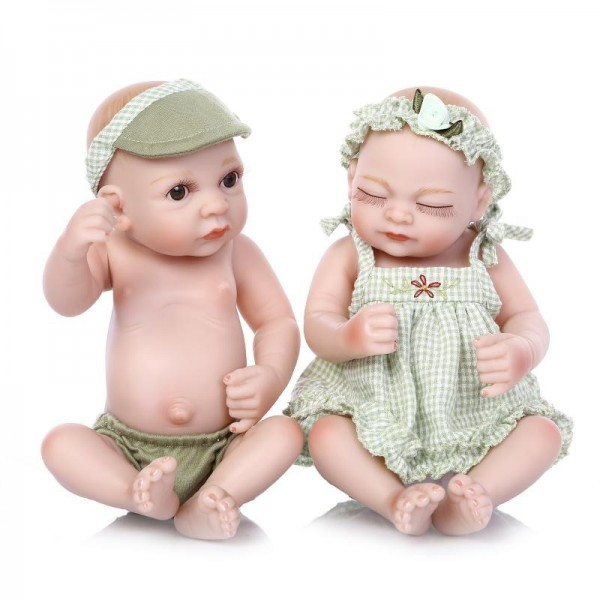 Cute Reborn Twins Dolls Preemie Poseable Lifelike Silicone Boy Girl Baby Doll 10inch