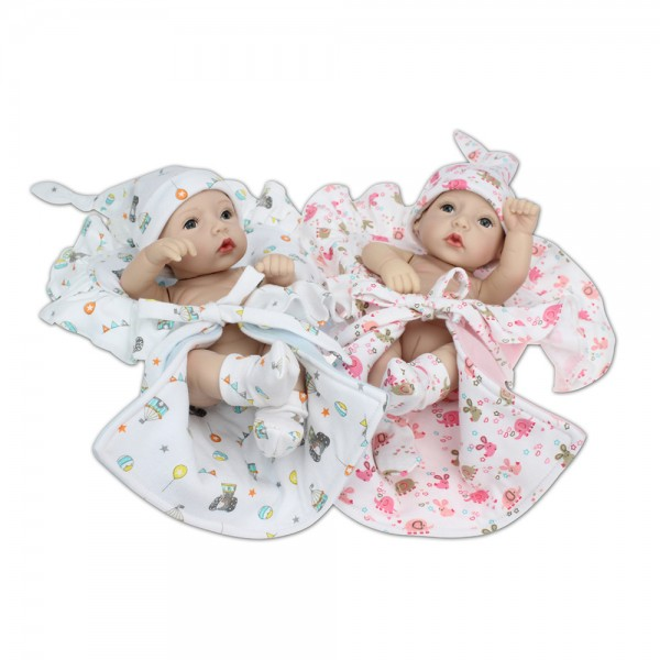 Reborn Twins Preemie Poseable Lifelike Silicone Boy Girl Baby Doll 10inch