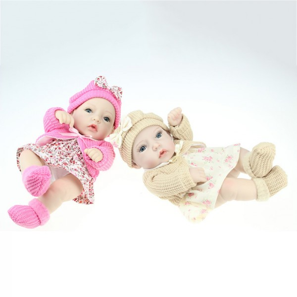 Mini Reborn Twins Preemie Lifelike Silicone Painted Hair Boy Girl Baby Doll 11inch