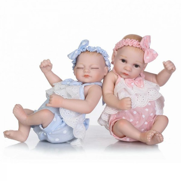 Cute Reborn Twins Poseable Lifelike Silicone Preemie Boy Girl Baby Doll 10inch