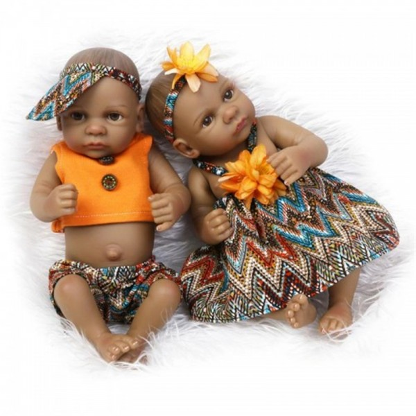 Black Twins Baby Dolls Full Vinyl Baby Doll 11 inches