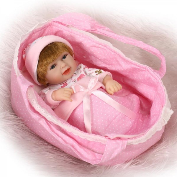Silicone Reborn Twins Preemie Poseable Lifelike Boy Girl Baby Doll 11inch With Basket