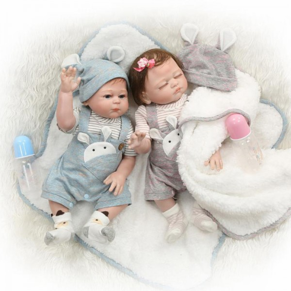 Reborn Twins Dolls Poseable Lifelike Silicone Sleeping Boy Girl Baby Doll 20inch