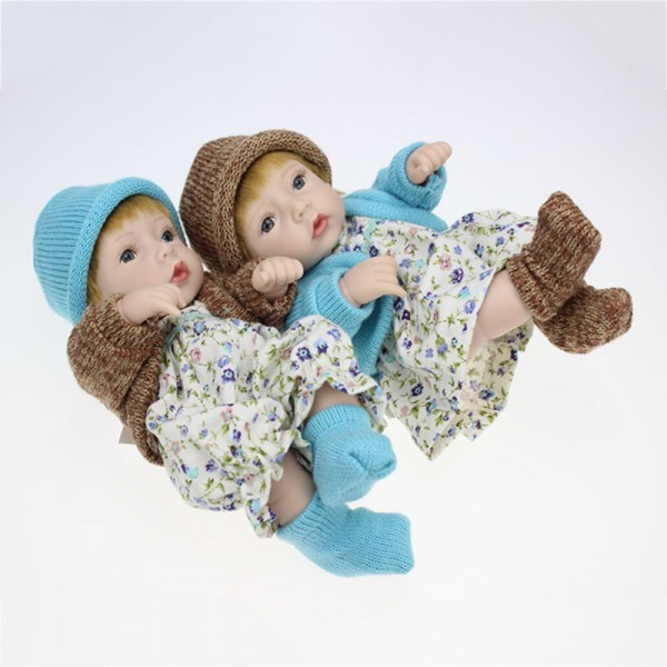 Cute Reborn Twins Preemie Poseable Lifelike Silicone Boy Girl Baby Doll 11inch