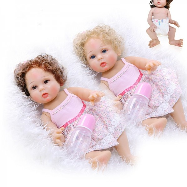 Curly Hair In Two Colors Popular Full Body Soft Silicone Baby Girl Doll 18.5inche