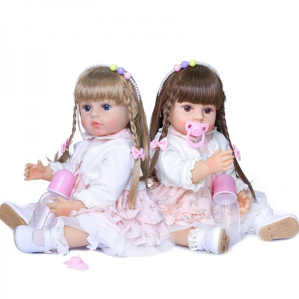 Original Two Colors Long Hair Handmade Doll Full Body Silicone Baby Doll 22Inche